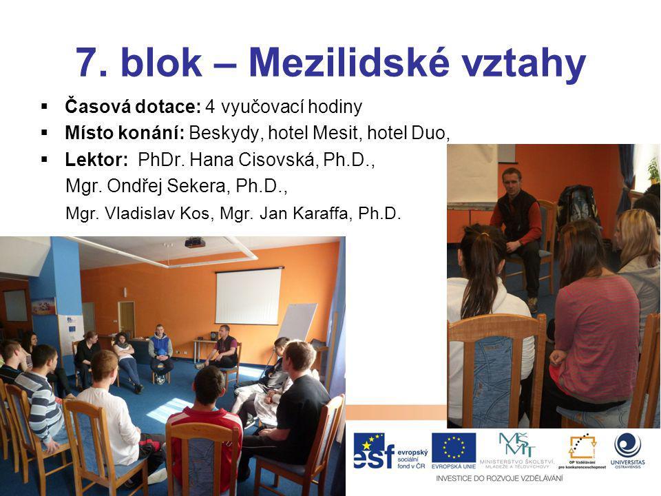 7. blok – Mezilidské vztahy  Časová dotace: 4 vyučovací hodiny  Místo konání: Beskydy, hotel Mesit, hotel Duo,  Lektor: PhDr. Hana Cisovská, Ph.D.,