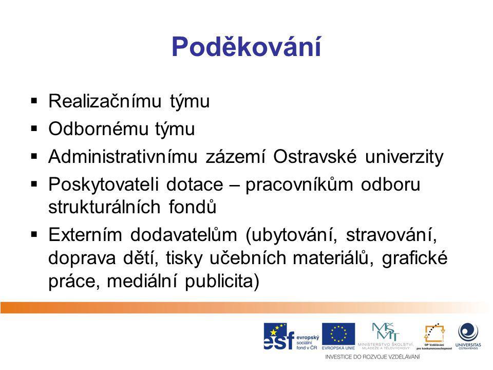 Poděkování  Realizačnímu týmu  Odbornému týmu  Administrativnímu zázemí Ostravské univerzity  Poskytovateli dotace – pracovníkům odboru strukturál