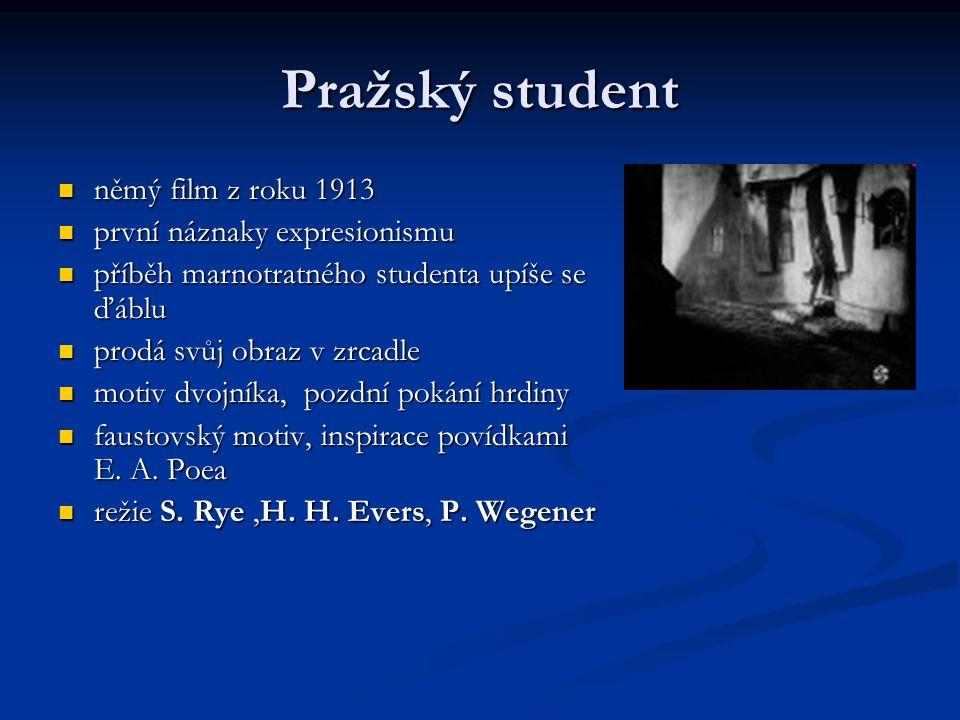 Pražský student němý film z roku 1913 němý film z roku 1913 první náznaky expresionismu první náznaky expresionismu příběh marnotratného studenta upíš