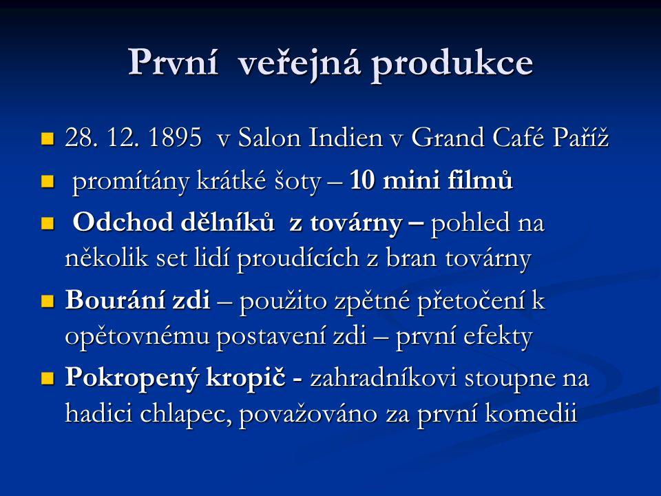 První veřejná produkce 28. 12. 1895 v Salon Indien v Grand Café Paříž 28. 12. 1895 v Salon Indien v Grand Café Paříž promítány krátké šoty – 10 mini f