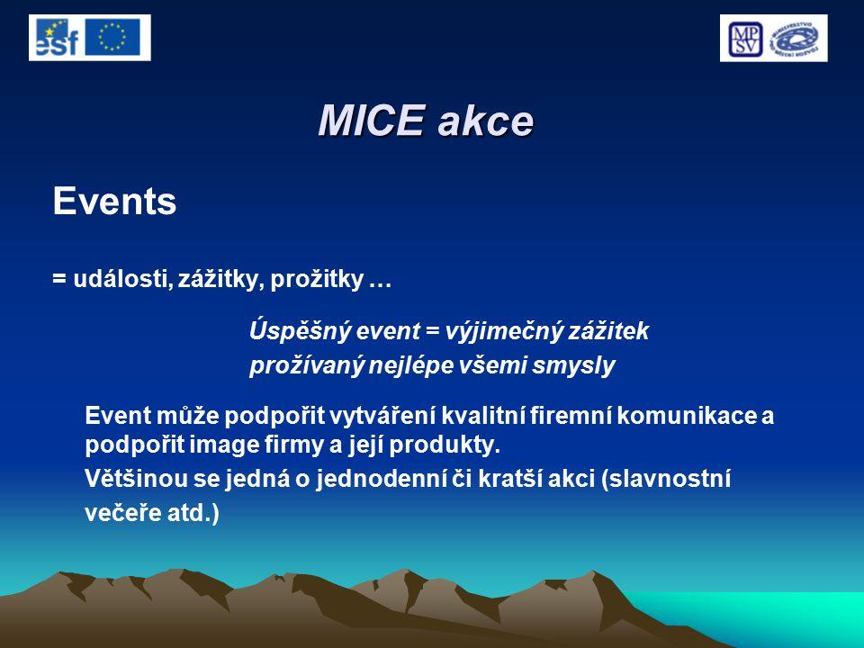 MICE akce Events = události, zážitky, prožitky … Úspěšný event = výjimečný zážitek prožívaný nejlépe všemi smysly Event může podpořit vytváření kvalit