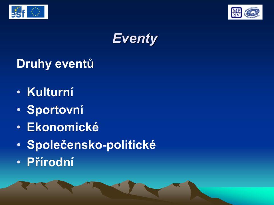 Eventy Druhy eventů Kulturní Sportovní Ekonomické Společensko-politické Přírodní