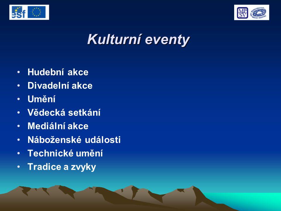 Kulturní eventy Hudební akce Divadelní akce Umění Vědecká setkání Mediální akce Náboženské události Technické umění Tradice a zvyky