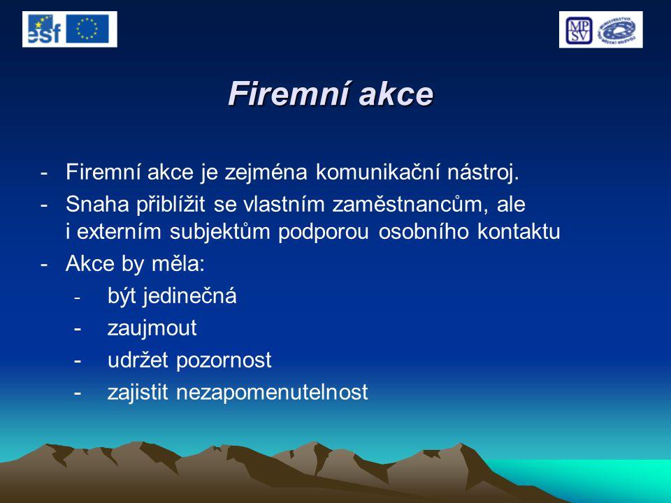 Firemní akce -Firemní akce je zejména komunikační nástroj. -Snaha přiblížit se vlastním zaměstnancům, ale i externím subjektům podporou osobního konta