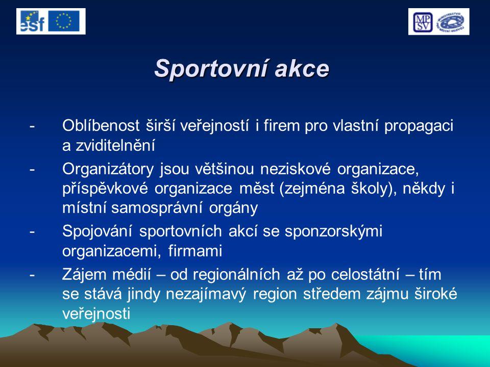 Sportovní akce -Oblíbenost širší veřejností i firem pro vlastní propagaci a zviditelnění -Organizátory jsou většinou neziskové organizace, příspěvkové