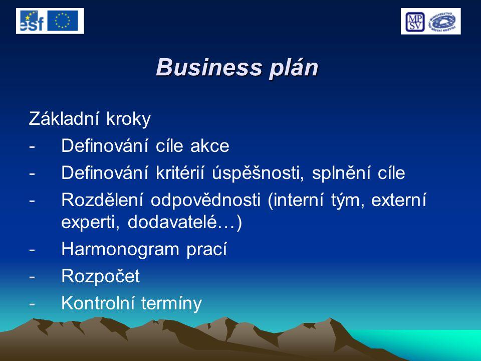 Business plán Základní kroky -Definování cíle akce -Definování kritérií úspěšnosti, splnění cíle -Rozdělení odpovědnosti (interní tým, externí experti