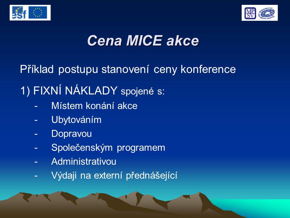 Cena MICE akce Příklad postupu stanovení ceny konference 1) FIXNÍ NÁKLADY spojené s: -Místem konání akce -Ubytováním -Dopravou -Společenským programem