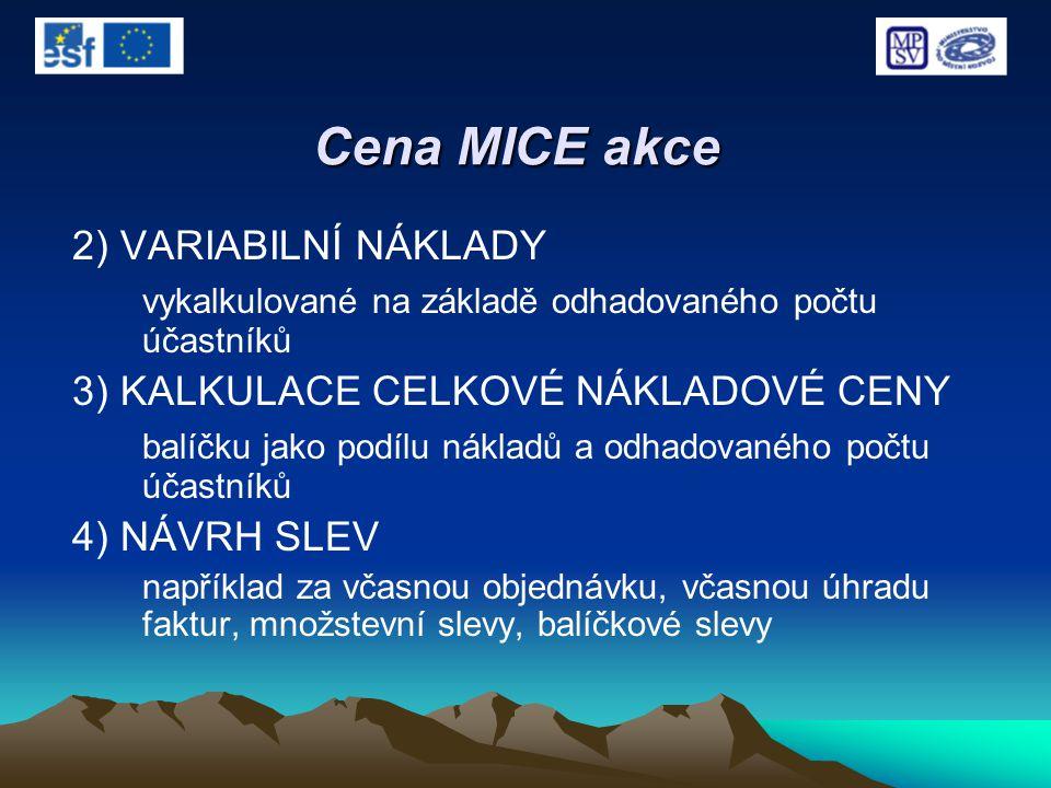Cena MICE akce 2) VARIABILNÍ NÁKLADY vykalkulované na základě odhadovaného počtu účastníků 3) KALKULACE CELKOVÉ NÁKLADOVÉ CENY balíčku jako podílu nák