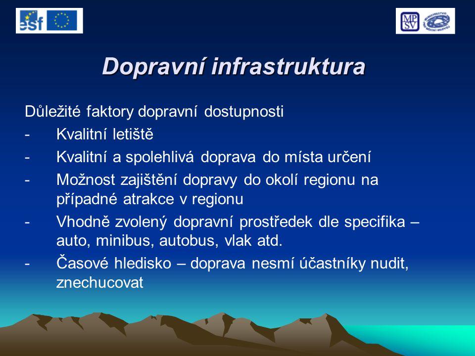 Dopravní infrastruktura Důležité faktory dopravní dostupnosti -Kvalitní letiště -Kvalitní a spolehlivá doprava do místa určení -Možnost zajištění dopr