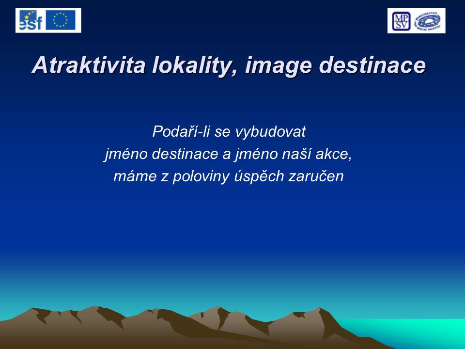Atraktivita lokality, image destinace Podaří-li se vybudovat jméno destinace a jméno naší akce, máme z poloviny úspěch zaručen
