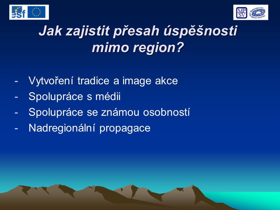 Jak zajistit přesah úspěšnosti mimo region? -Vytvoření tradice a image akce -Spolupráce s médii -Spolupráce se známou osobností -Nadregionální propaga