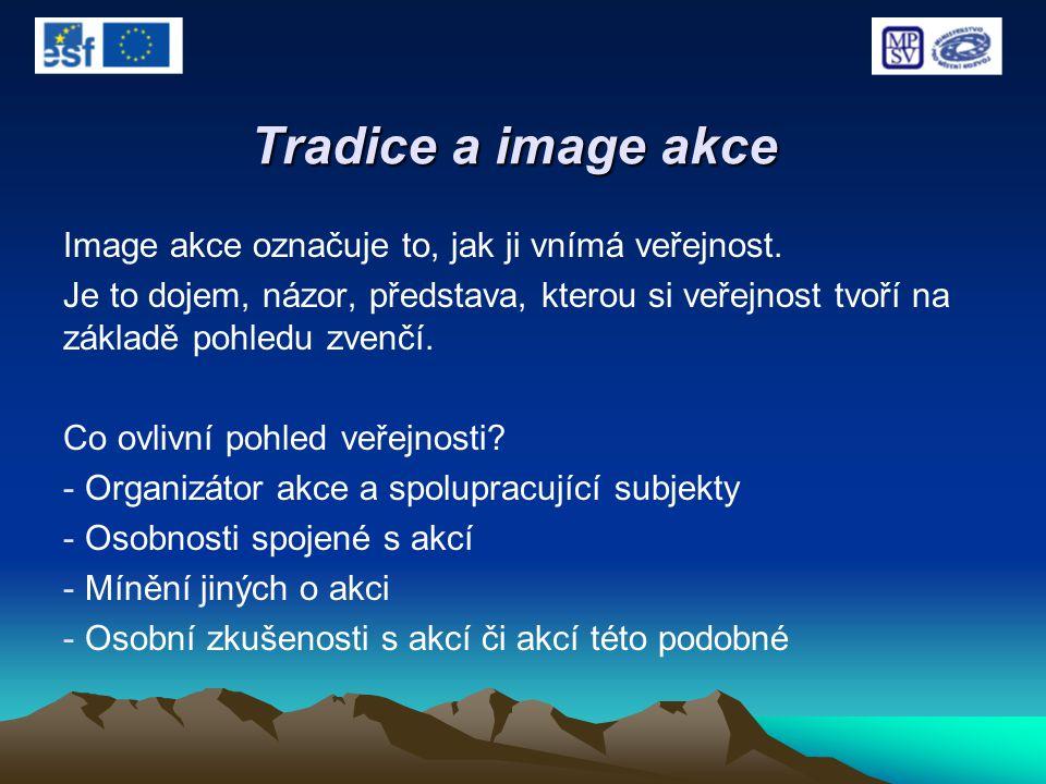 Tradice a image akce Image akce označuje to, jak ji vnímá veřejnost. Je to dojem, názor, představa, kterou si veřejnost tvoří na základě pohledu zvenč