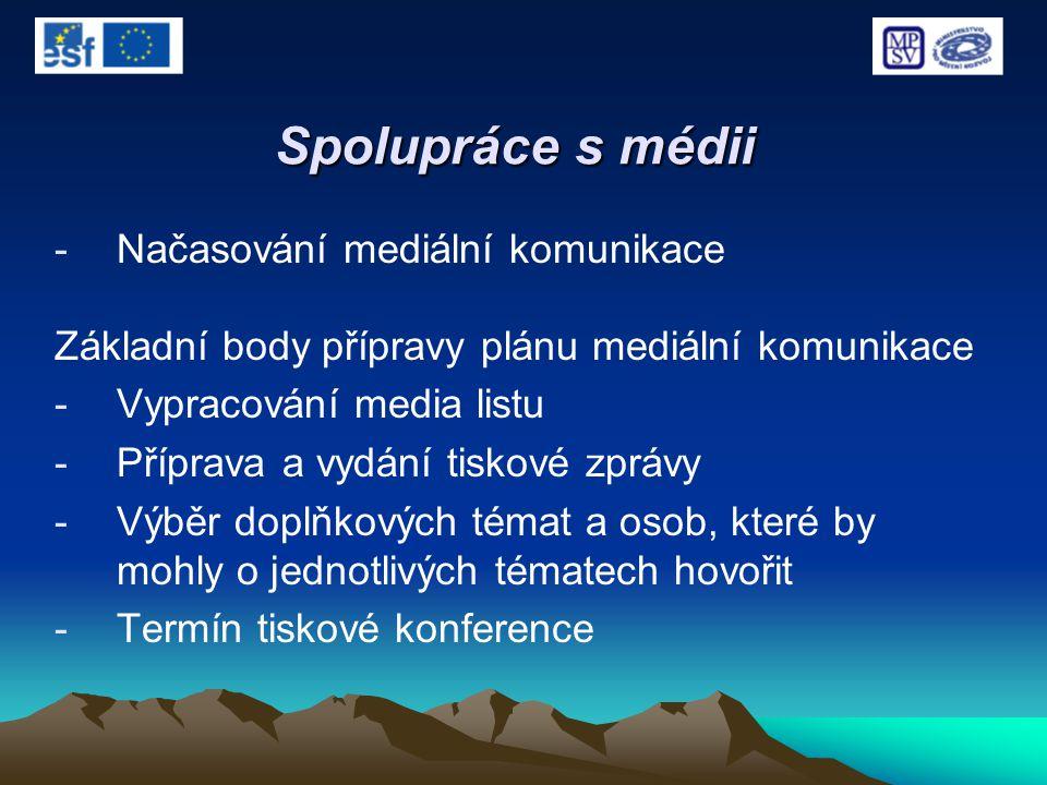 Spolupráce s médii -Načasování mediální komunikace Základní body přípravy plánu mediální komunikace -Vypracování media listu -Příprava a vydání tiskov