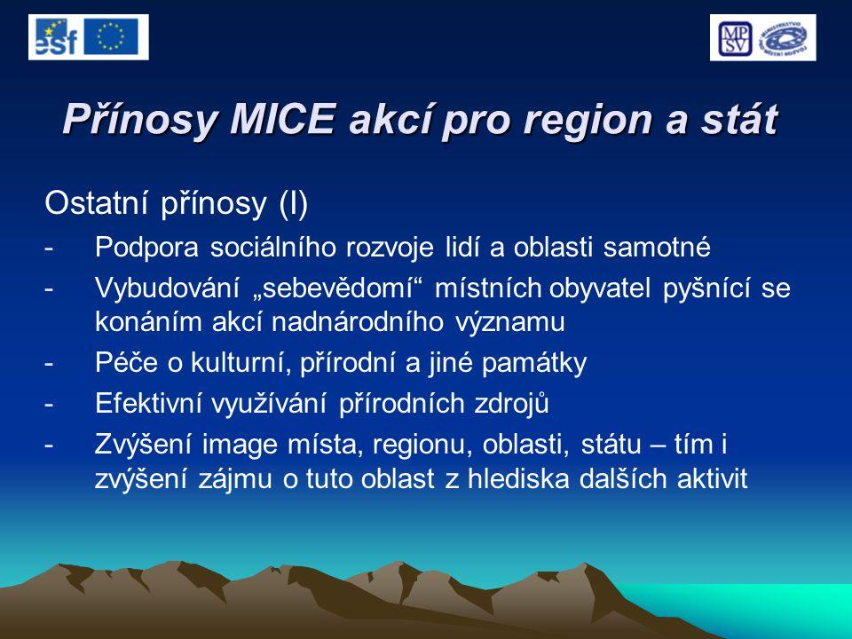 """Přínosy MICE akcí pro region a stát Ostatní přínosy (I) -Podpora sociálního rozvoje lidí a oblasti samotné -Vybudování """"sebevědomí"""" místních obyvatel"""
