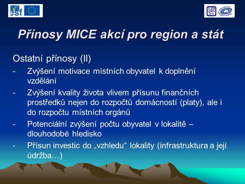 Přínosy MICE akcí pro region a stát Ostatní přínosy (II) -Zvýšení motivace místních obyvatel k doplnění vzdělání -Zvýšení kvality života vlivem přísun