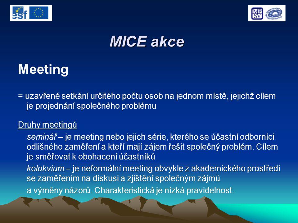 MICE akce Meeting = uzavřené setkání určitého počtu osob na jednom místě, jejichž cílem je projednání společného problému Druhy meetingů seminář – je