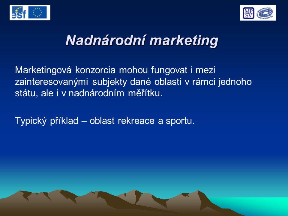 Nadnárodní marketing Marketingová konzorcia mohou fungovat i mezi zainteresovanými subjekty dané oblasti v rámci jednoho státu, ale i v nadnárodním mě