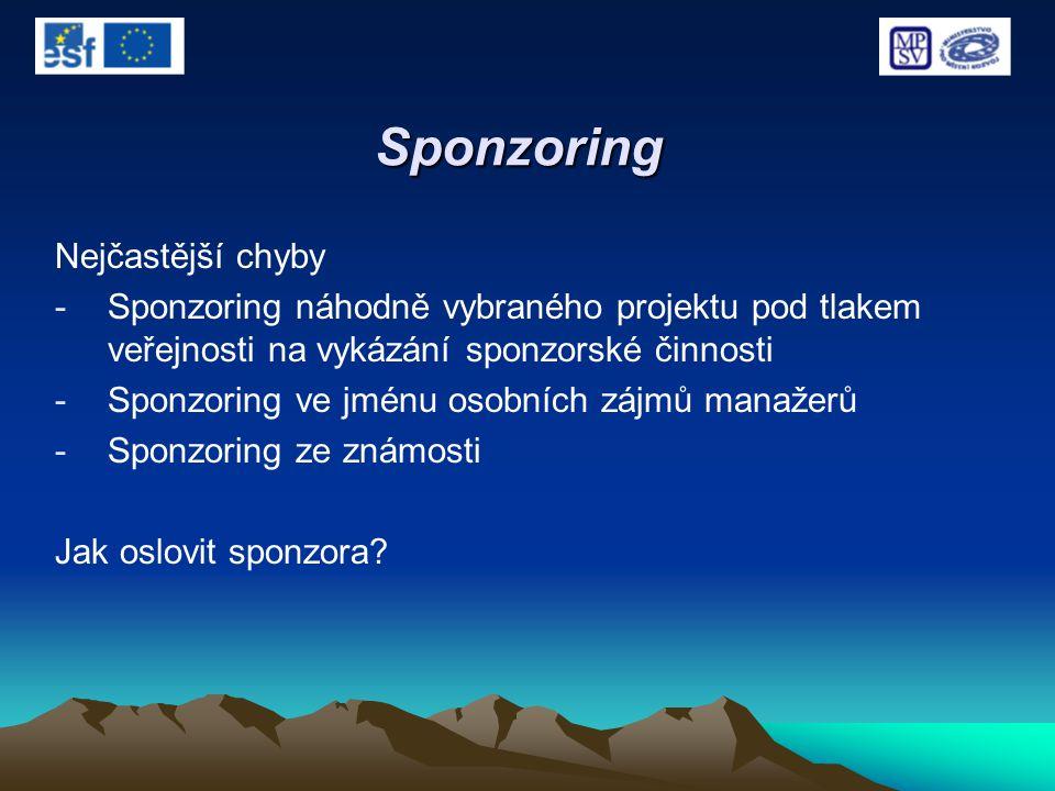 Sponzoring Nejčastější chyby -Sponzoring náhodně vybraného projektu pod tlakem veřejnosti na vykázání sponzorské činnosti -Sponzoring ve jménu osobníc