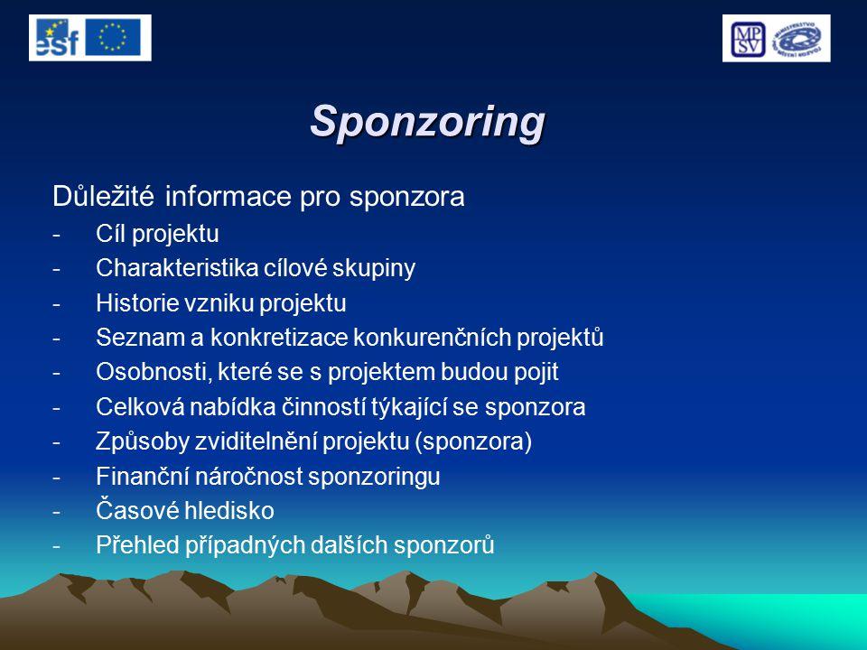 Sponzoring Důležité informace pro sponzora -Cíl projektu -Charakteristika cílové skupiny -Historie vzniku projektu -Seznam a konkretizace konkurenčníc