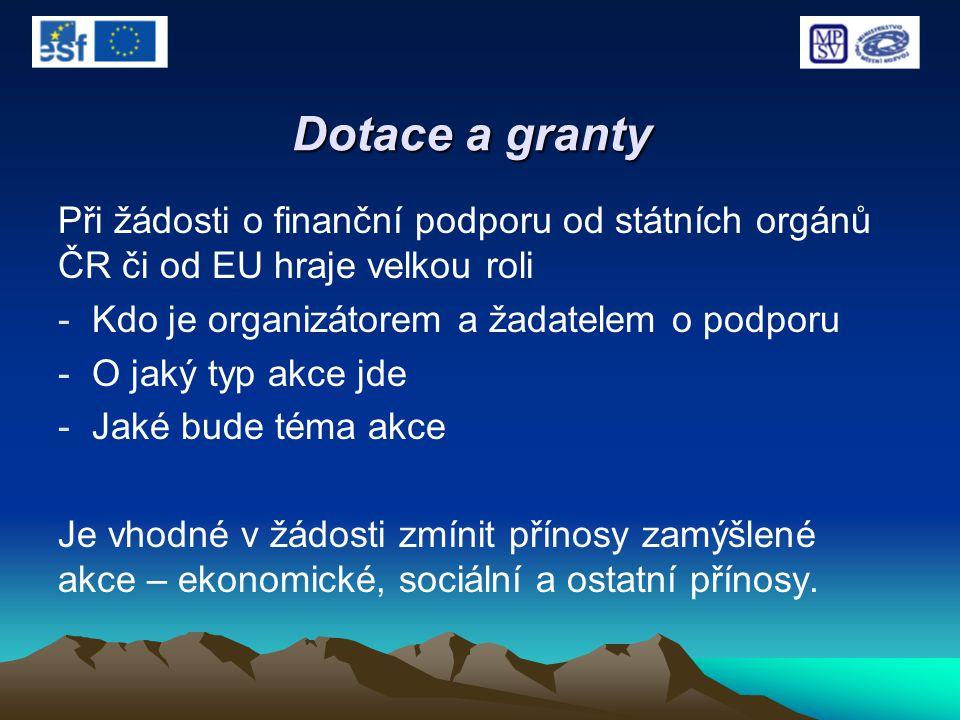 Dotace a granty Při žádosti o finanční podporu od státních orgánů ČR či od EU hraje velkou roli - Kdo je organizátorem a žadatelem o podporu - O jaký