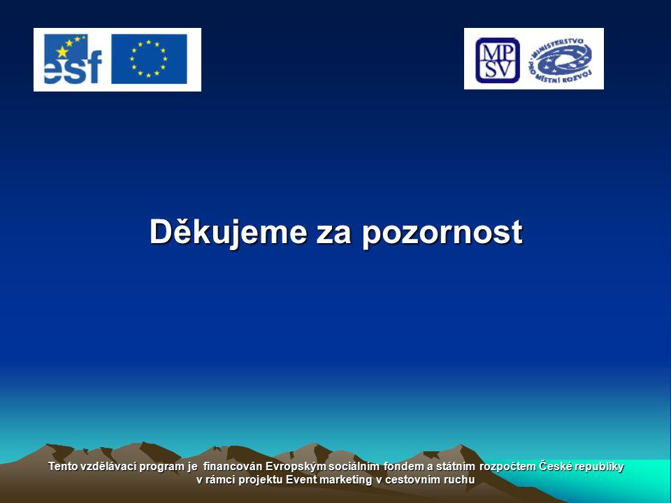 Děkujeme za pozornost Tento vzdělávací program je financován Evropským sociálním fondem a státním rozpočtem České republiky v rámci projektu Event mar