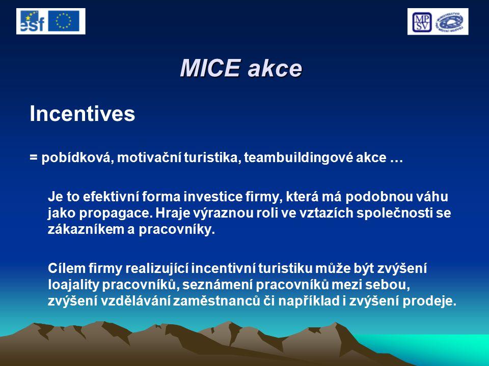 MICE akce Incentives = pobídková, motivační turistika, teambuildingové akce … Je to efektivní forma investice firmy, která má podobnou váhu jako propa