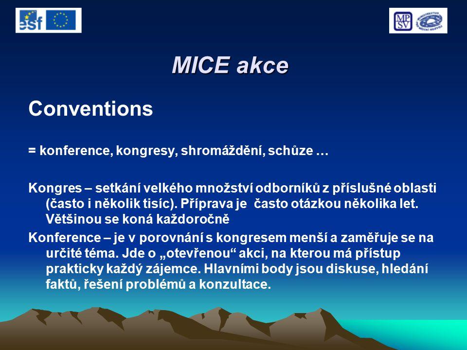 MICE akce Conventions = konference, kongresy, shromáždění, schůze … Kongres – setkání velkého množství odborníků z příslušné oblasti (často i několik