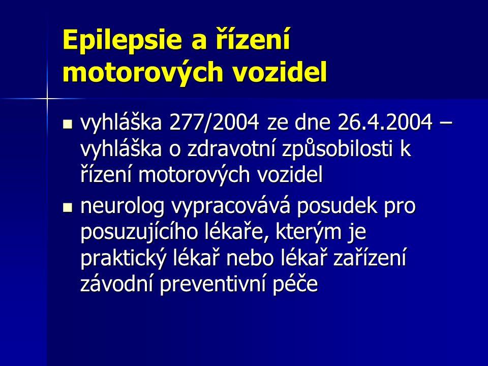 Epilepsie a řízení motorových vozidel vyhláška 277/2004 ze dne 26.4.2004 – vyhláška o zdravotní způsobilosti k řízení motorových vozidel vyhláška 277/2004 ze dne 26.4.2004 – vyhláška o zdravotní způsobilosti k řízení motorových vozidel neurolog vypracovává posudek pro posuzujícího lékaře, kterým je praktický lékař nebo lékař zařízení závodní preventivní péče neurolog vypracovává posudek pro posuzujícího lékaře, kterým je praktický lékař nebo lékař zařízení závodní preventivní péče