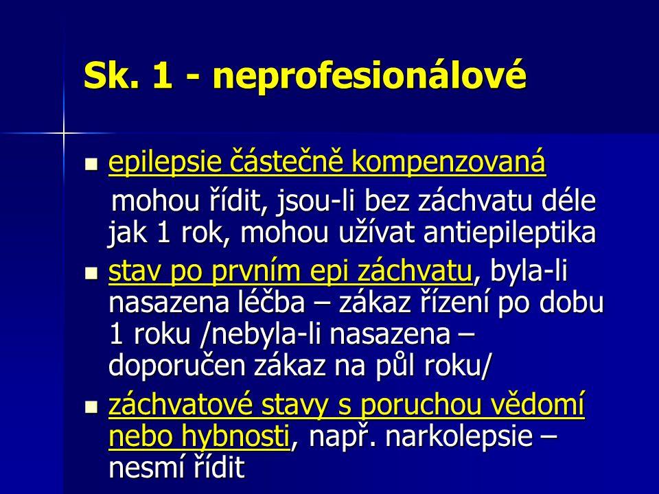 Sk. 1 - neprofesionálové epilepsie částečně kompenzovaná epilepsie částečně kompenzovaná mohou řídit, jsou-li bez záchvatu déle jak 1 rok, mohou užíva