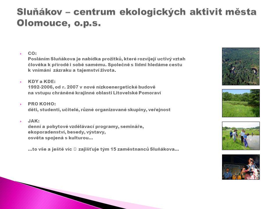  CO: Posláním Sluňákova je nabídka prožitků, které rozvíjejí uctivý vztah člověka k přírodě i sobě samému.