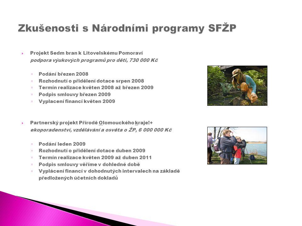  Projekt Sedm bran k Litovelskému Pomoraví podpora výukových programů pro děti, 730 000 Kč ◦ Podání březen 2008 ◦ Rozhodnutí o přidělení dotace srpen 2008 ◦ Termín realizace květen 2008 až březen 2009 ◦ Podpis smlouvy březen 2009 ◦ Vyplacení financí květen 2009  Partnerský projekt Přírodě Olomouckého kraje!+ ekoporadenství, vzdělávání a osvěta o ŽP, 6 000 000 Kč ◦ Podání leden 2009 ◦ Rozhodnutí o přidělení dotace duben 2009 ◦ Termín realizace květen 2009 až duben 2011 ◦ Podpis smlouvy věříme v dohledné době ◦ Vyplácení financí v dohodnutých intervalech na základě předložených účetních dokladů