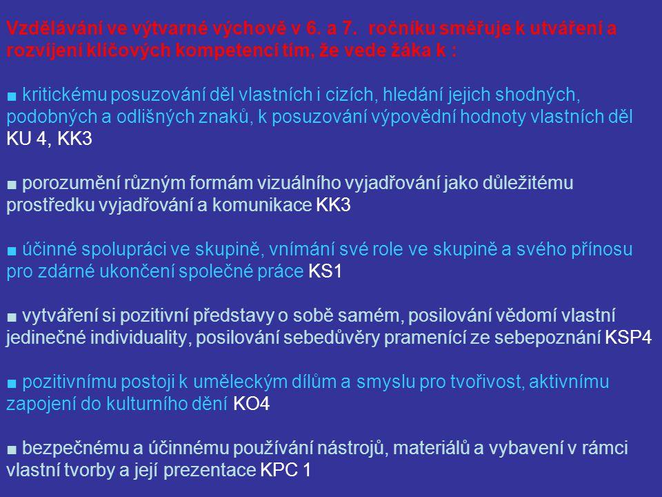 Vzdělávání ve výtvarné výchově v 8.a 9.