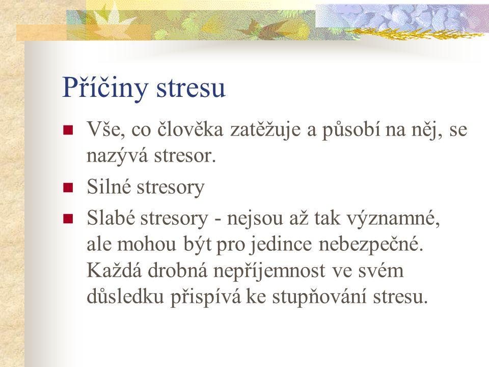 Příčiny stresu Vše, co člověka zatěžuje a působí na něj, se nazývá stresor.