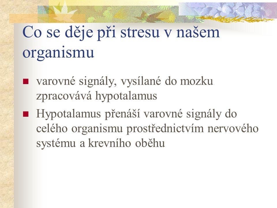 Co se děje při stresu v našem organismu varovné signály, vysílané do mozku zpracovává hypotalamus Hypotalamus přenáší varovné signály do celého organismu prostřednictvím nervového systému a krevního oběhu