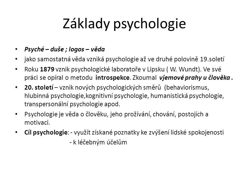 Základy psychologie Psyché – duše ; logos – věda jako samostatná věda vzniká psychologie až ve druhé polovině 19.soletí Roku 1879 vznik psychologické
