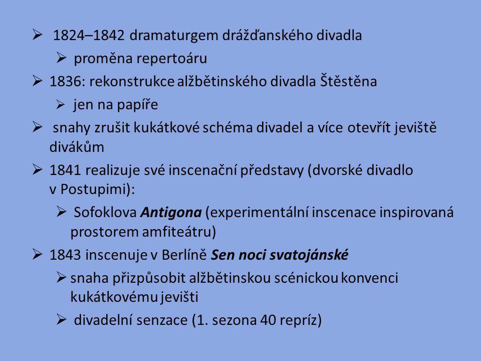  1824–1842 dramaturgem drážďanského divadla  proměna repertoáru  1836: rekonstrukce alžbětinského divadla Štěstěna  jen na papíře  snahy zrušit k
