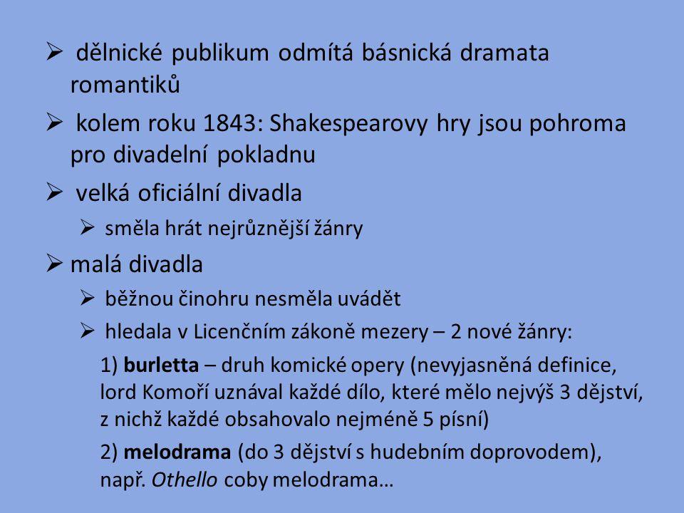  dělnické publikum odmítá básnická dramata romantiků  kolem roku 1843: Shakespearovy hry jsou pohroma pro divadelní pokladnu  velká oficiální divad