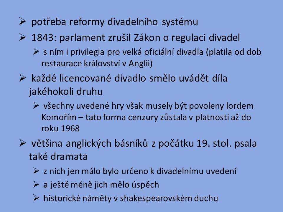  potřeba reformy divadelního systému  1843: parlament zrušil Zákon o regulaci divadel  s ním i privilegia pro velká oficiální divadla (platila od d