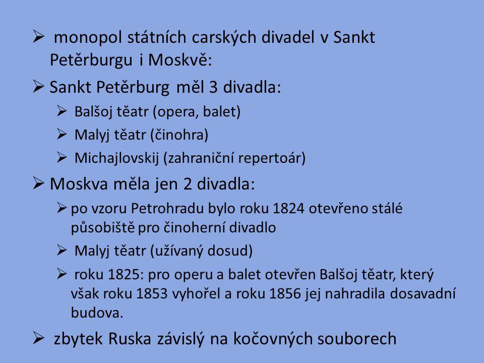  monopol státních carských divadel v Sankt Petěrburgu i Moskvě:  Sankt Petěrburg měl 3 divadla:  Balšoj těatr (opera, balet)  Malyj těatr (činohra