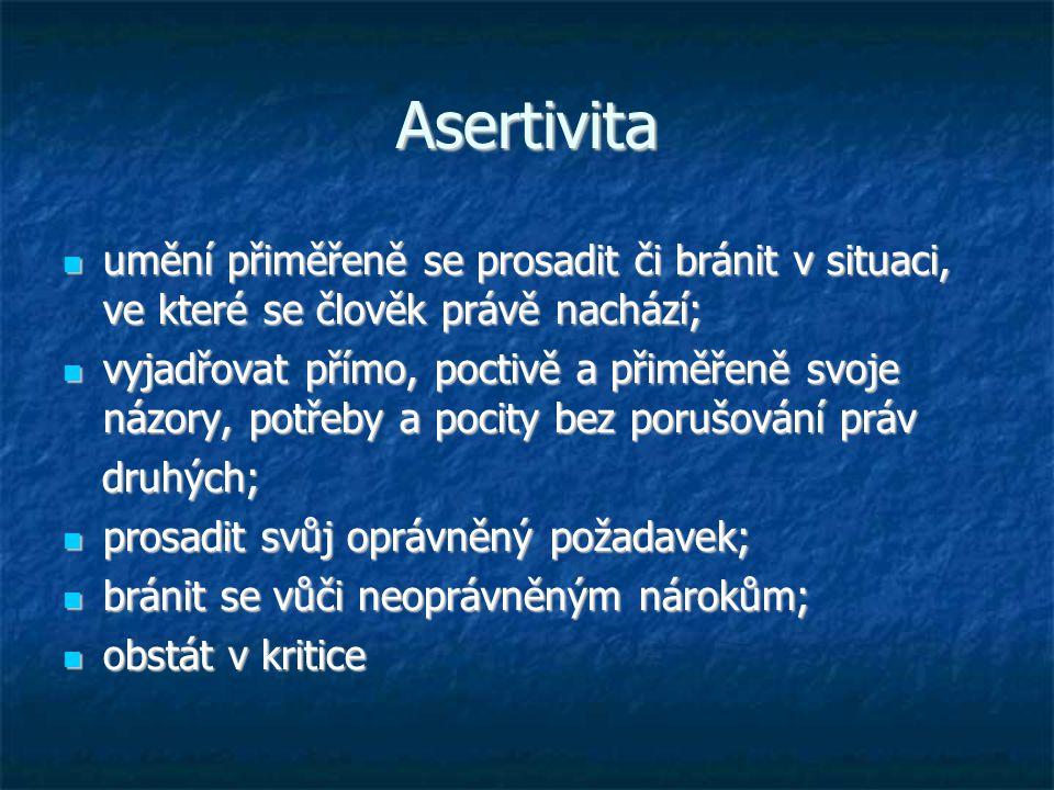 Asertivita umění přiměřeně se prosadit či bránit v situaci, ve které se člověk právě nachází; umění přiměřeně se prosadit či bránit v situaci, ve kter