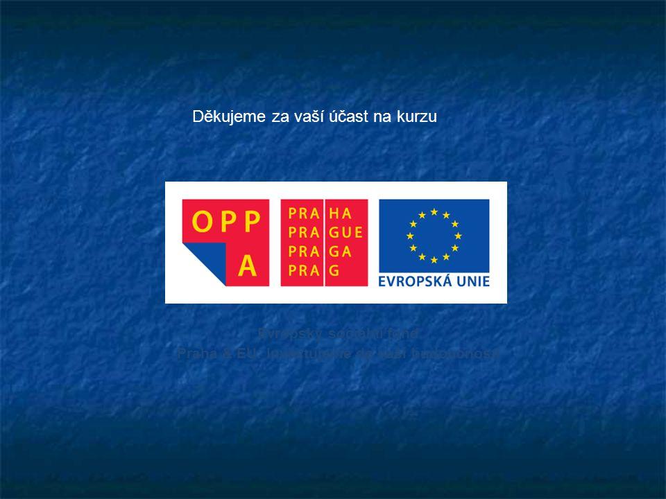 Evropský sociální fond Praha & EU: Investujeme do vaší budoucnosti Děkujeme za vaší účast na kurzu