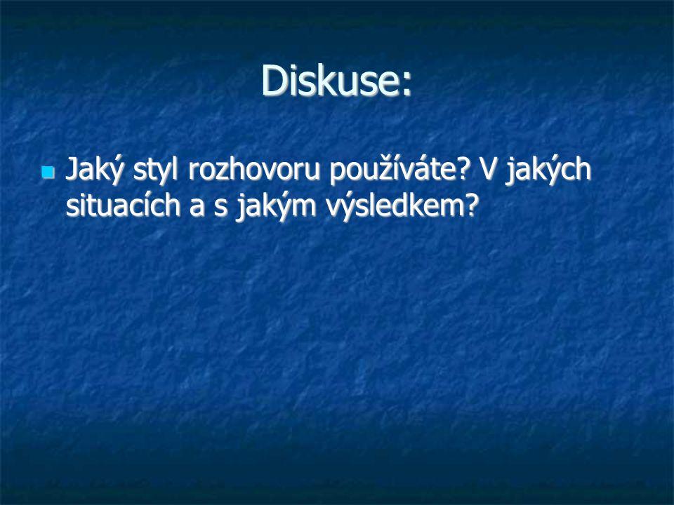 Diskuse: Jaký styl rozhovoru používáte? V jakých situacích a s jakým výsledkem? Jaký styl rozhovoru používáte? V jakých situacích a s jakým výsledkem?