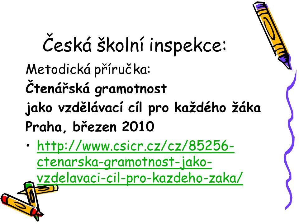 Česká školní inspekce: Metodická příručka: Čtenářská gramotnost jako vzdělávací cíl pro každého žáka Praha, březen 2010 http://www.csicr.cz/cz/85256- ctenarska-gramotnost-jako- vzdelavaci-cil-pro-kazdeho-zaka/http://www.csicr.cz/cz/85256- ctenarska-gramotnost-jako- vzdelavaci-cil-pro-kazdeho-zaka/