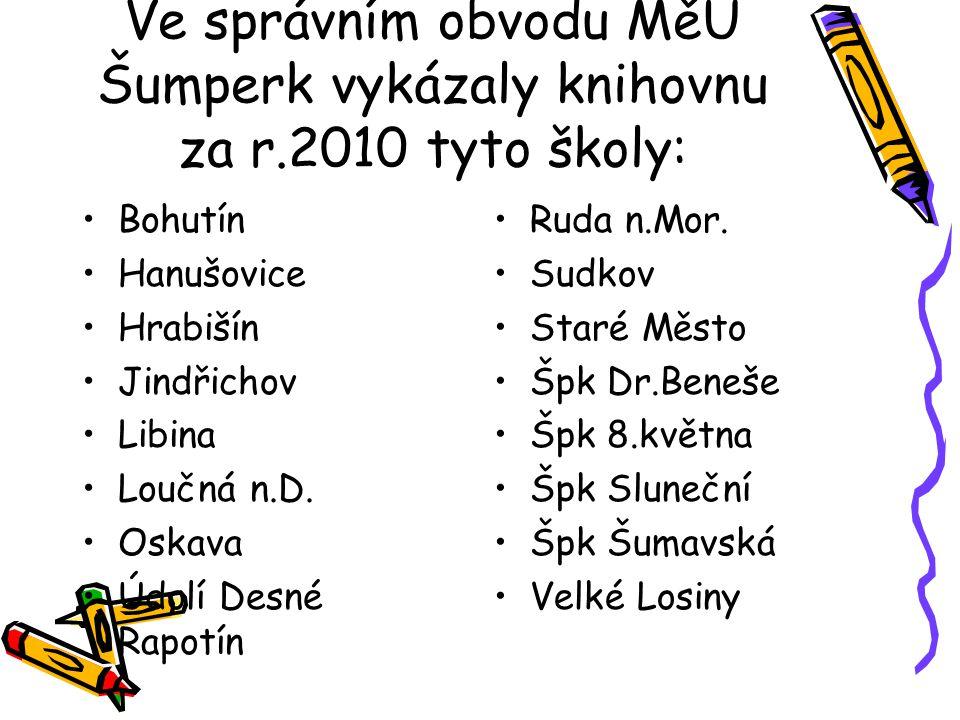 Ve správním obvodu MěÚ Šumperk vykázaly knihovnu za r.2010 tyto školy: Bohutín Hanušovice Hrabišín Jindřichov Libina Loučná n.D.