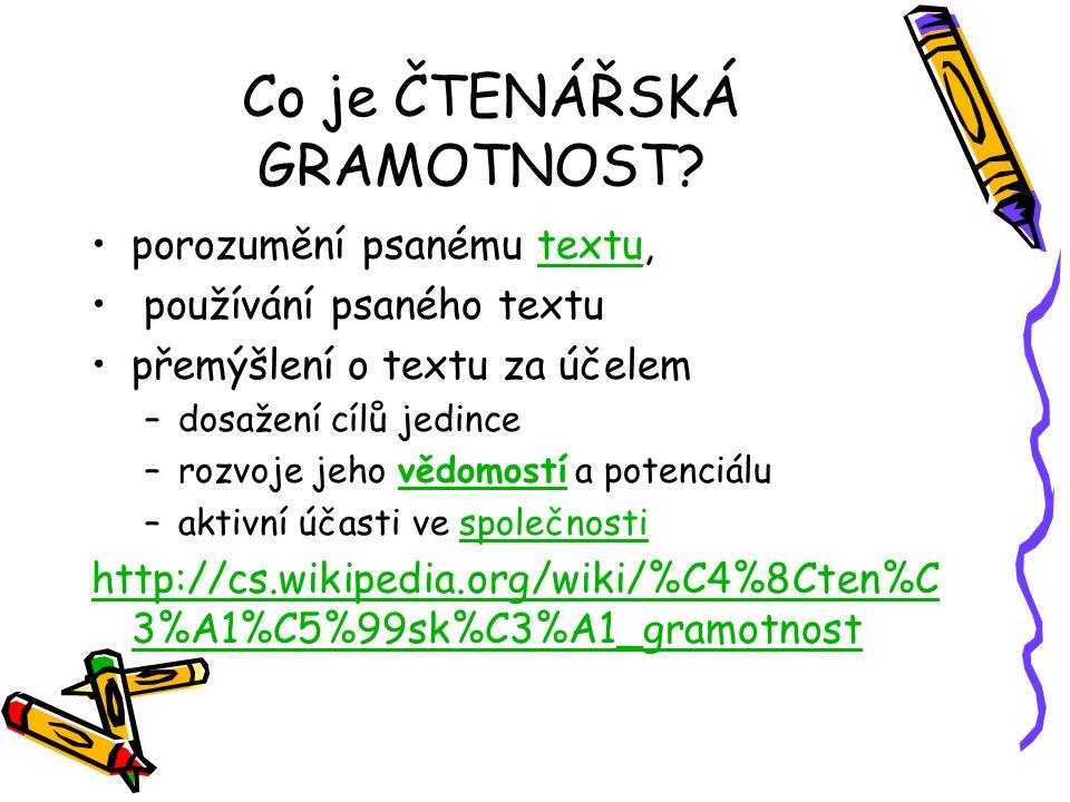 Průzkum čtenářské gramotnosti PISA 2000 Účast: patnáctiletí žáci všech typů škol Dotazníky byly zadávány také učitelům žáků a ředitelům škol.