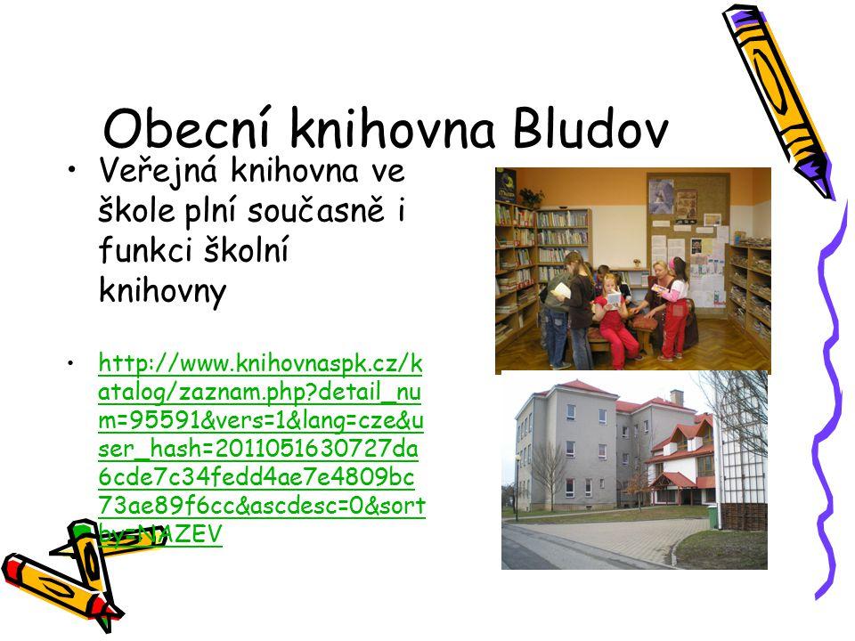 Obecní knihovna Bludov Veřejná knihovna ve škole plní současně i funkci školní knihovny http://www.knihovnaspk.cz/k atalog/zaznam.php detail_nu m=95591&vers=1&lang=cze&u ser_hash=2011051630727da 6cde7c34fedd4ae7e4809bc 73ae89f6cc&ascdesc=0&sort by=NAZEVhttp://www.knihovnaspk.cz/k atalog/zaznam.php detail_nu m=95591&vers=1&lang=cze&u ser_hash=2011051630727da 6cde7c34fedd4ae7e4809bc 73ae89f6cc&ascdesc=0&sort by=NAZEV