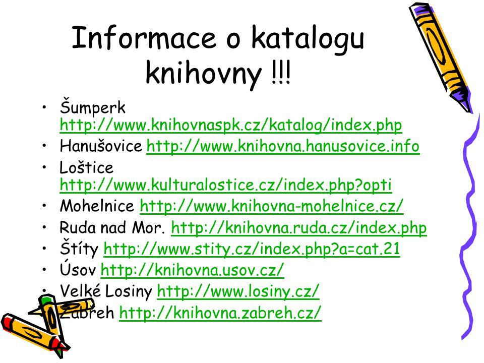Informace o katalogu knihovny !!.