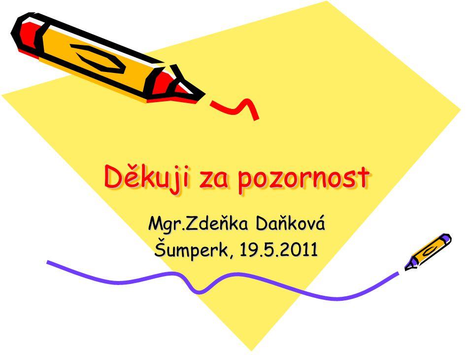 Děkuji za pozornost Mgr.Zdeňka Daňková Šumperk, 19.5.2011