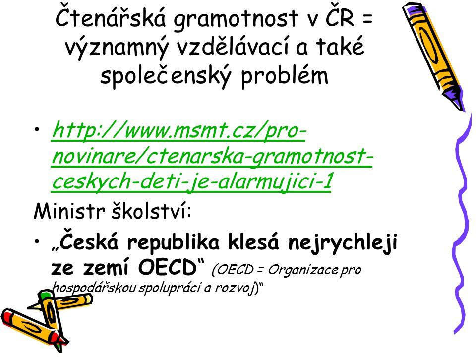 """Čtenářská gramotnost v ČR = významný vzdělávací a také společenský problém http://www.msmt.cz/pro- novinare/ctenarska-gramotnost- ceskych-deti-je-alarmujici-1http://www.msmt.cz/pro- novinare/ctenarska-gramotnost- ceskych-deti-je-alarmujici-1 Ministr školství: """"Česká republika klesá nejrychleji ze zemí OECD (OECD = Organizace pro hospodářskou spolupráci a rozvoj)"""