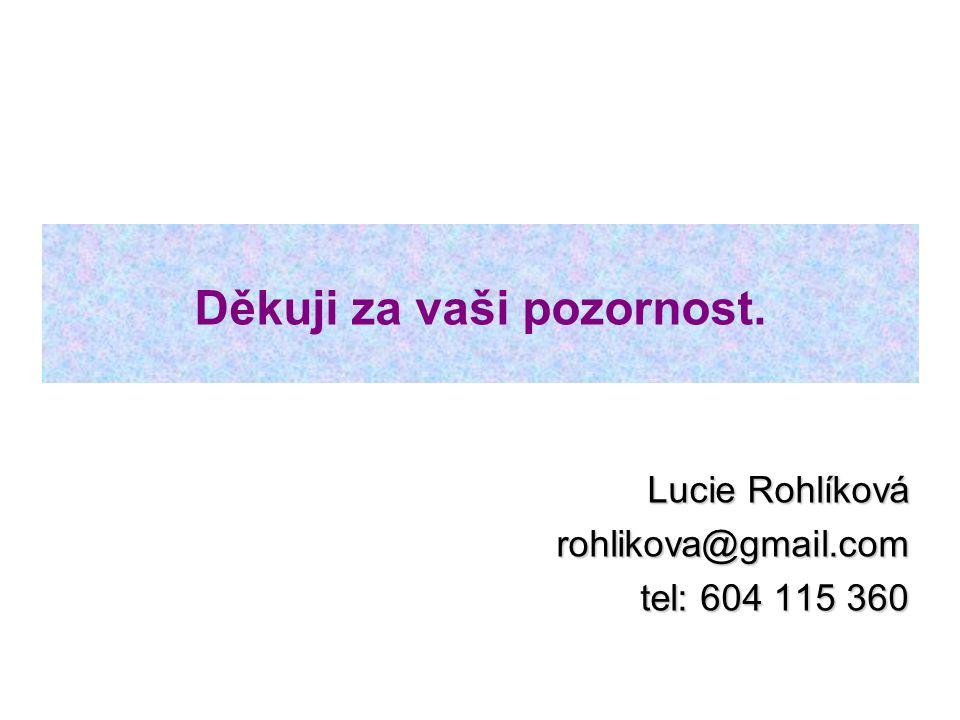 Děkuji za vaši pozornost. Lucie Rohlíková rohlikova@gmail.com tel: 604 115 360